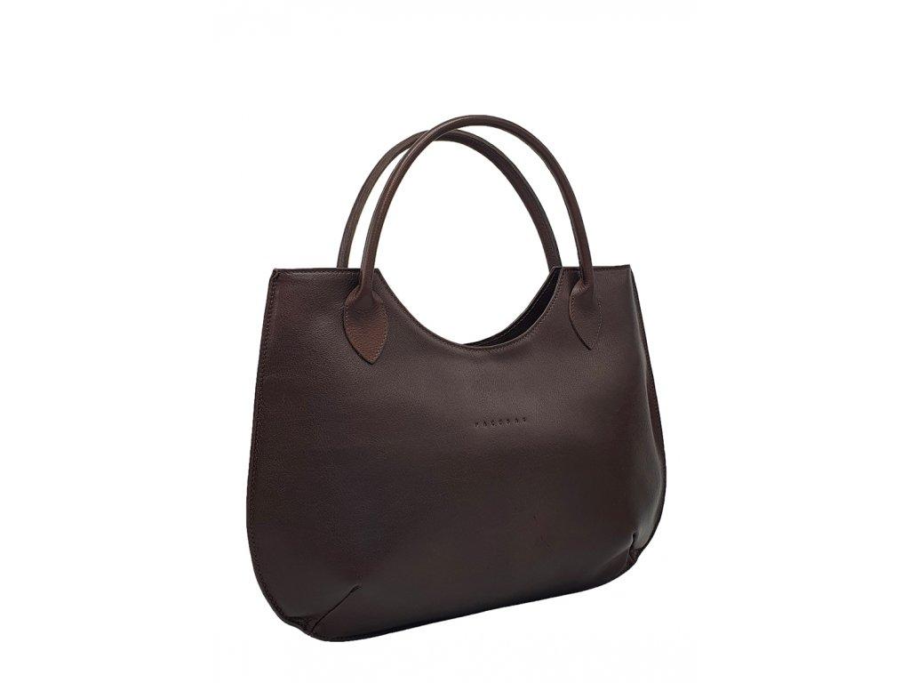 Kožená kabelka Brenda tmavě hnědá
