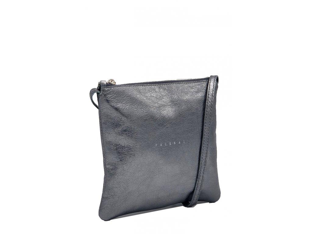 Kožená crossbody kabelka stříbrná Lols 7021 (2)