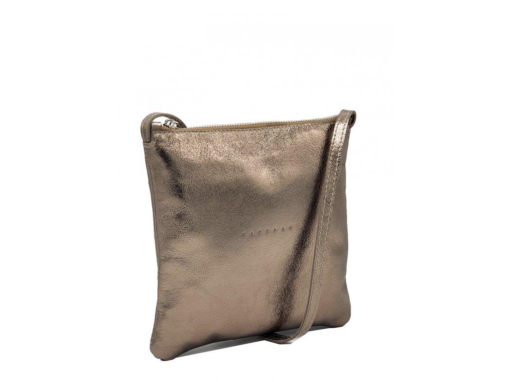 Kožená crossbody kabelka zlatá Lolaa 7021 (2)