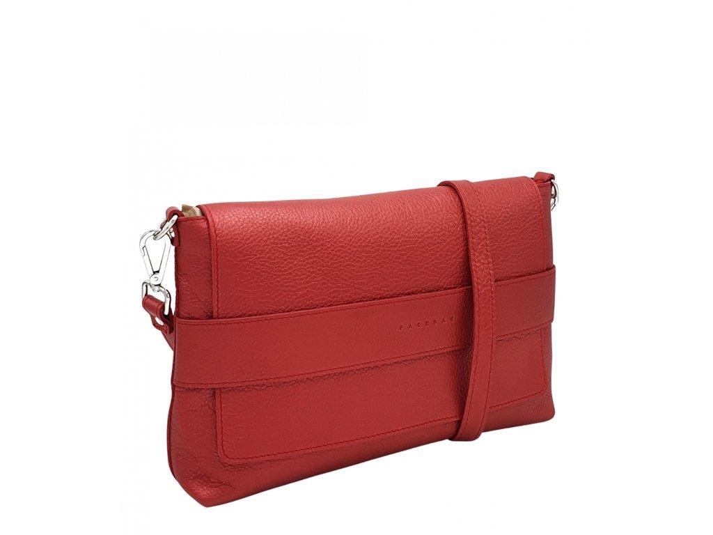 Kožená crossbody kabelka Fille metalická červená se stříbrným kováním (1)