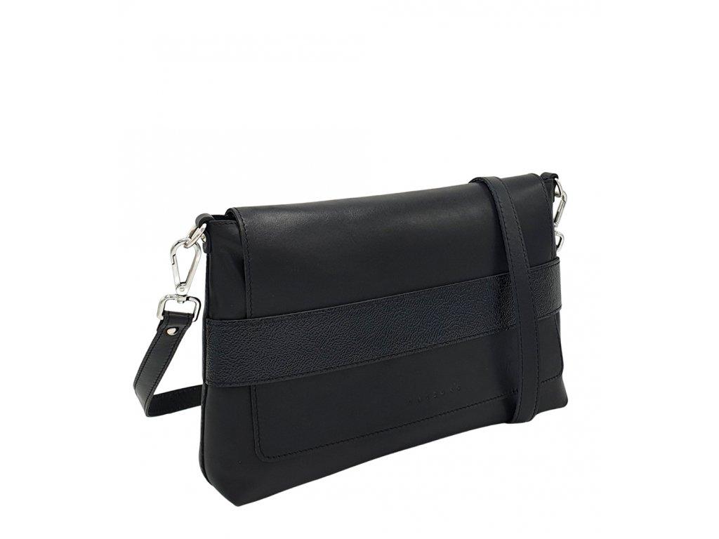 Kožená crossbody kabelka Fille černá s lakovaným páskem 8073 (1)