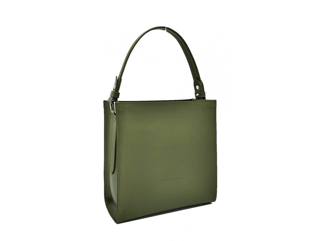 Kožená kabelka do ruky olivová Ange 8016 (1)