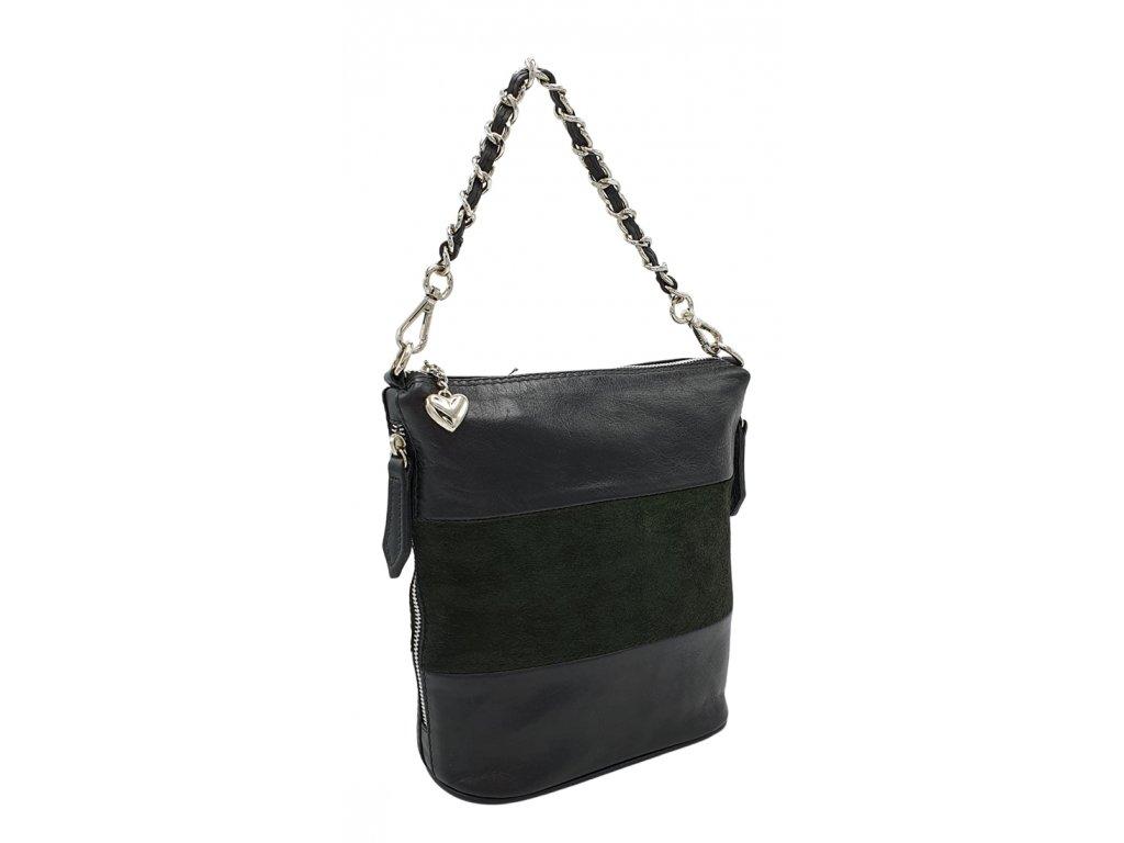 Kožená kabelka Emma střední černá v kombinaci
