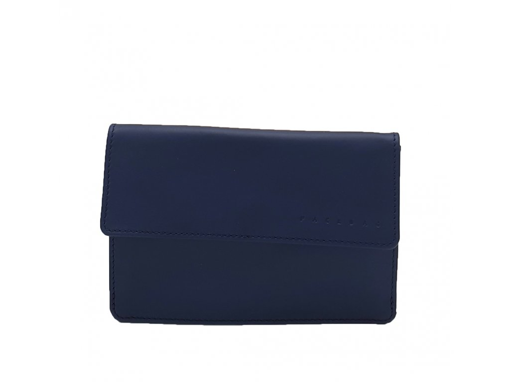 Kožená dopisnice modrá hladká (3)