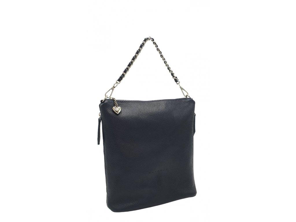 Kožená kabelka tmavě modrá Emma největší (1)