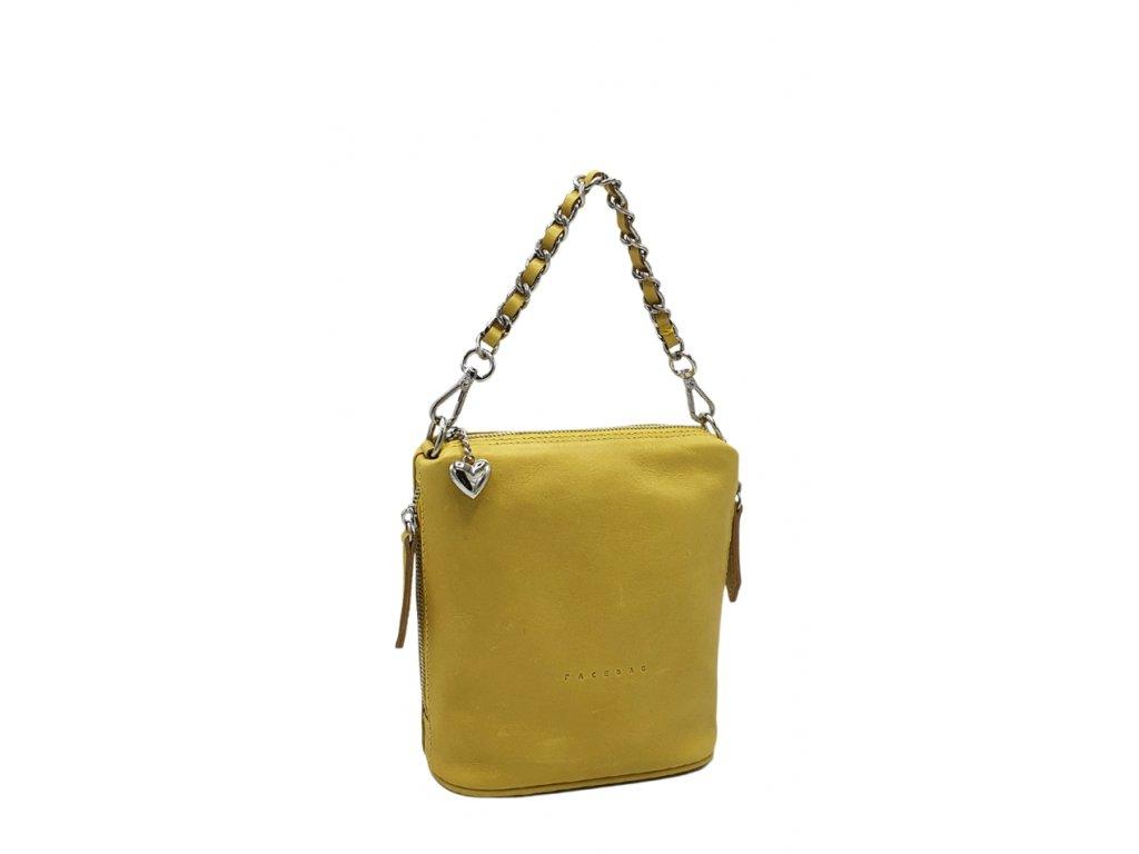 Kožená kabelka Emma malá žlutá hladká