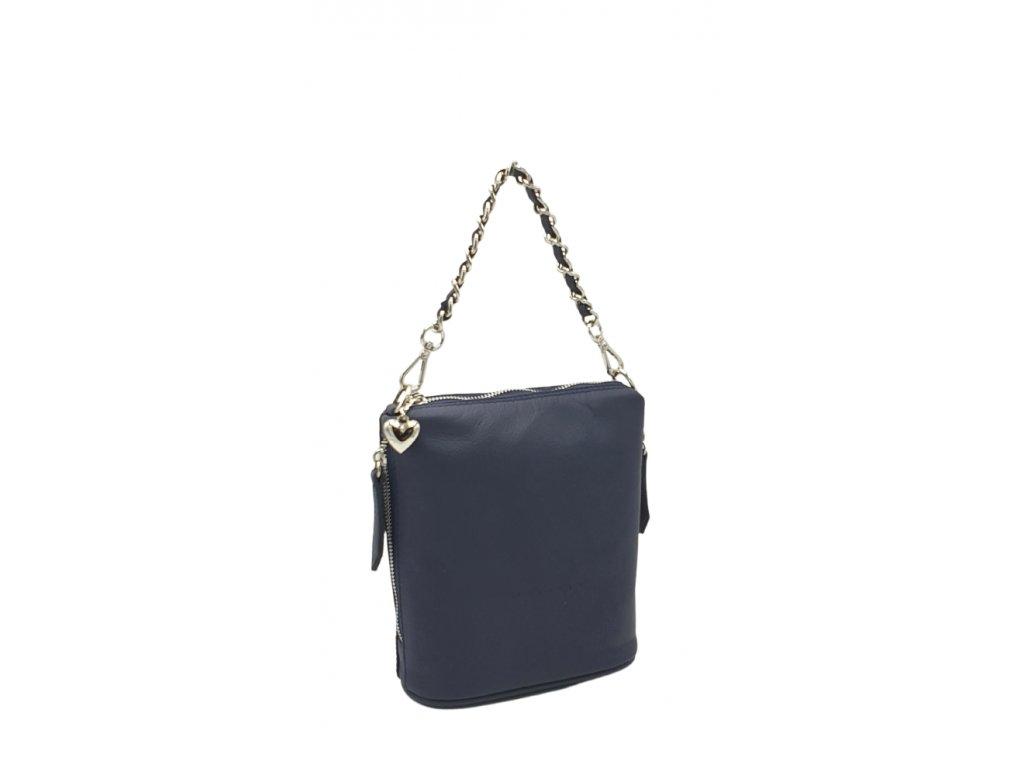 Kožená kabelka Emma malá modrá hladká