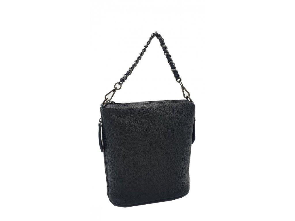 Kožená kabelka Emma velká černá hladká s černým kováním