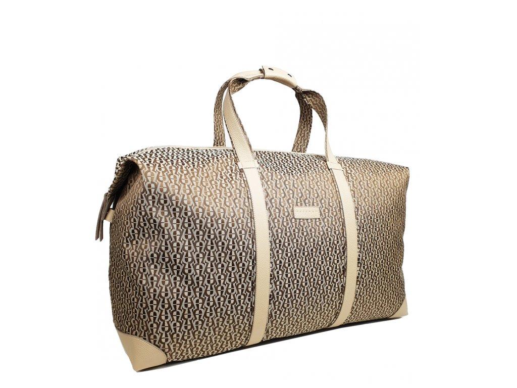 Cestovní taška béžová polokožená (2)