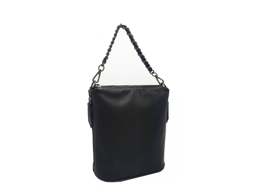 Kožená kabelka Emma střední černá hladká s černým kováním