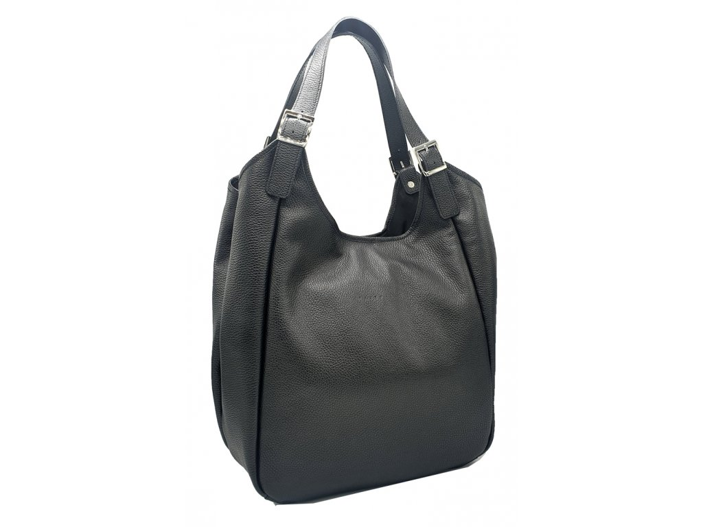 Kožená kabelka černá MANA (2)