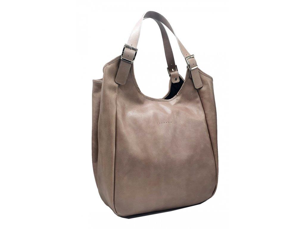 Kožená kabelka šedá vintage MANA (2)