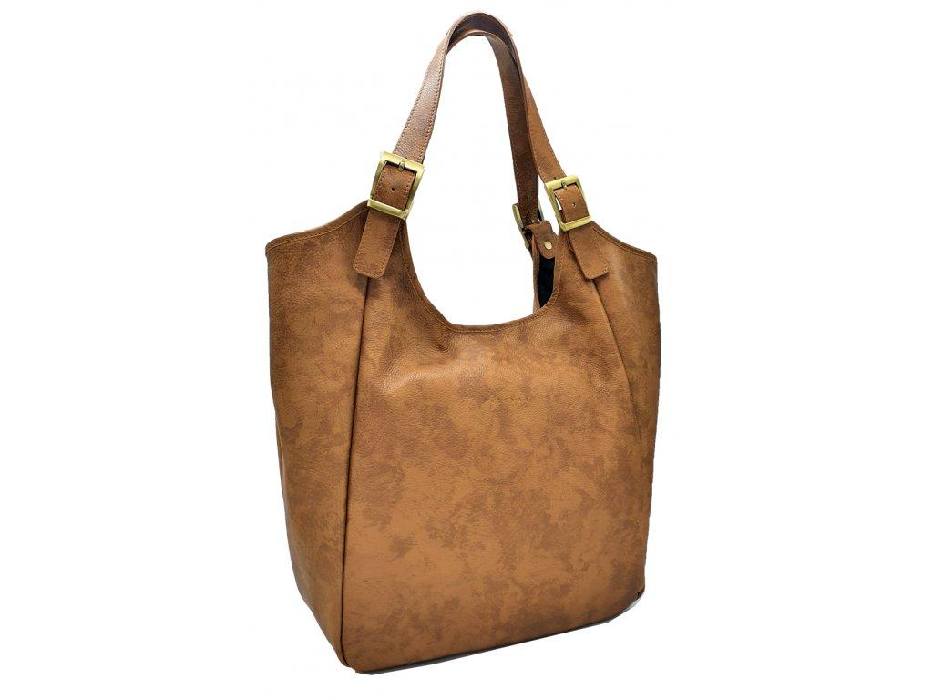 Kožená kabelka přes rameno Mana hnědá vintage