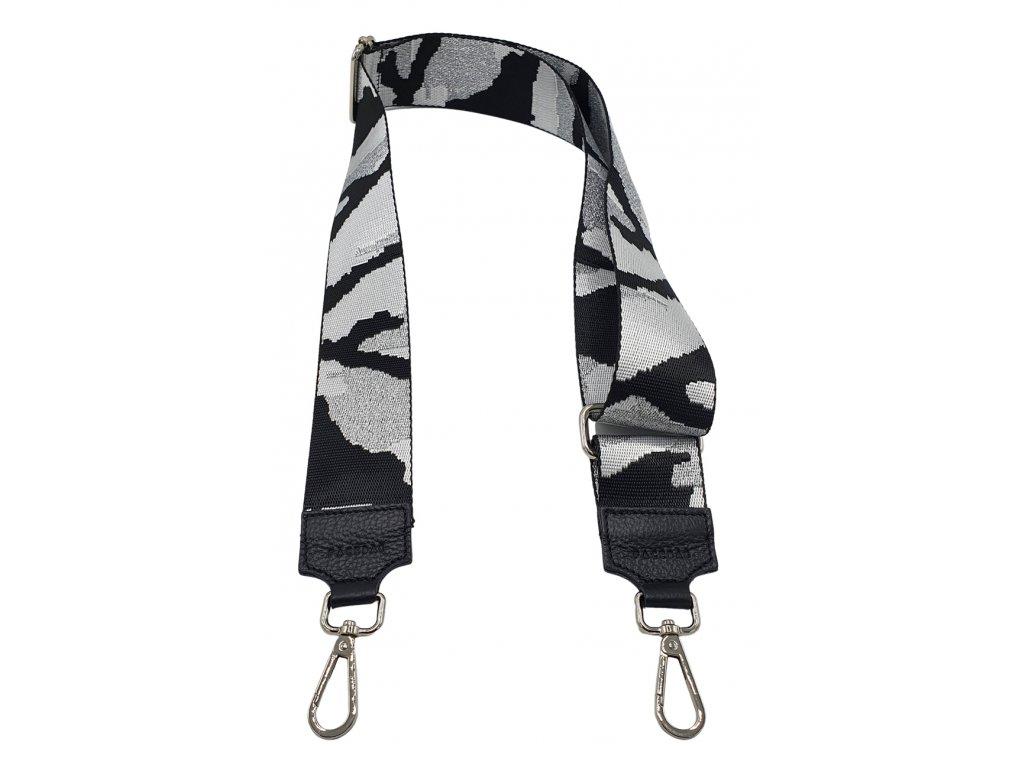 Látkový popruh ke kabelce černo-stříbrný