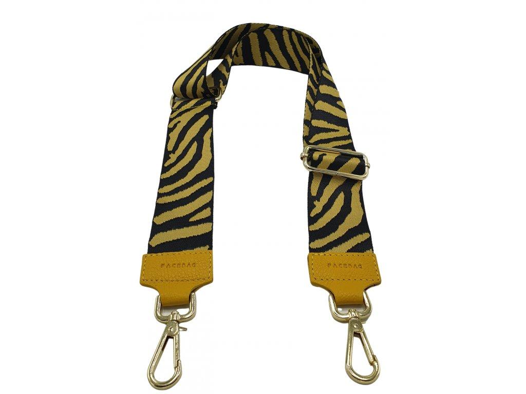 Látkový popruh ke kabelce žluto-černý