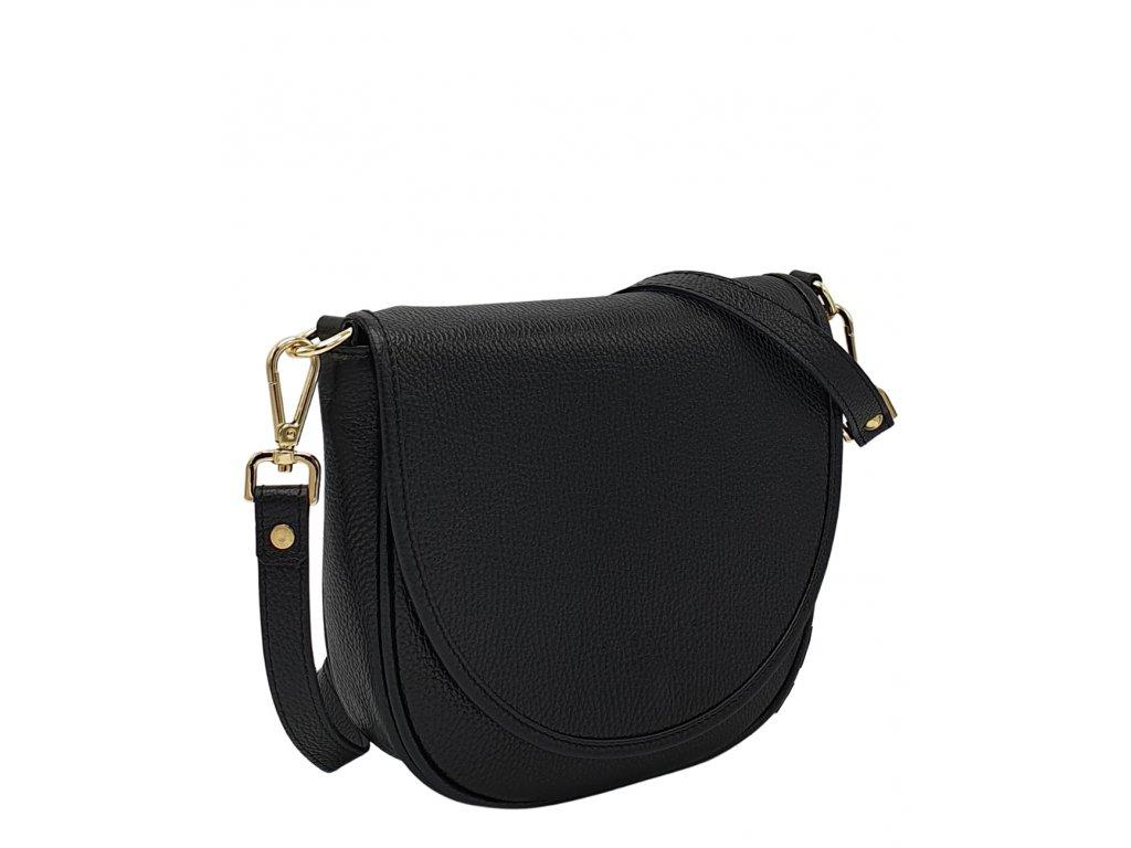 Kožená kabelka Lili černá dolaro se zlatým kováním