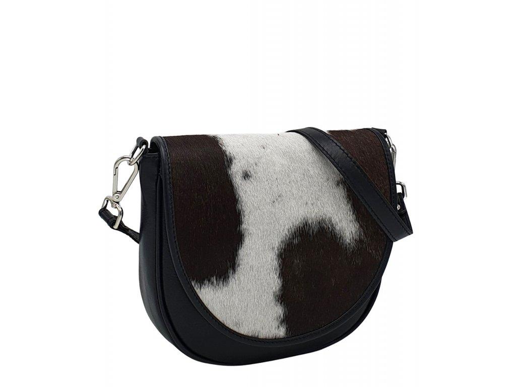 Kožená kabelka Lili černá se srstí