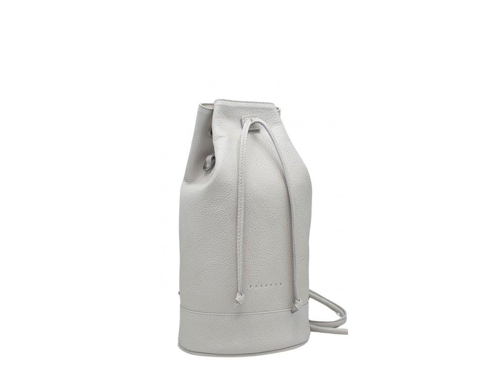 Kožený batoh 7067 bílý perleť (2)