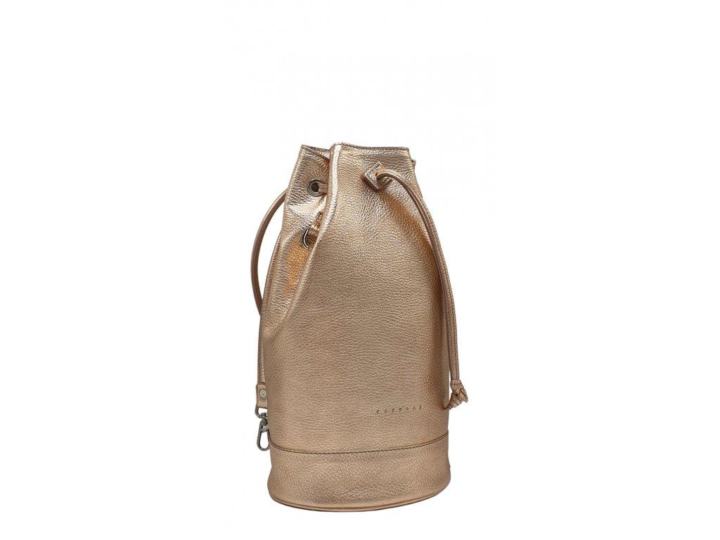 Kožený batoh 7067 metalický růžový (2)