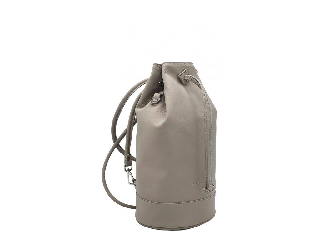 Kožený batoh 7067 světle šedý hladký