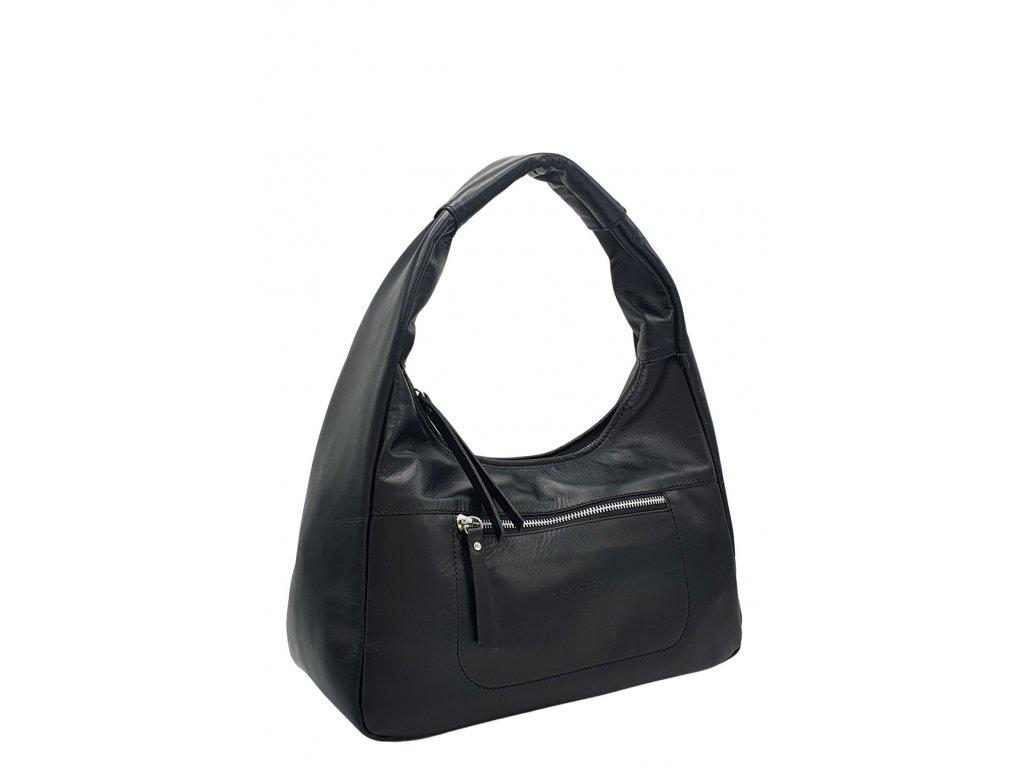 Kožená kabelka přes rameno LYSE černá hladká se stříbrným kováním