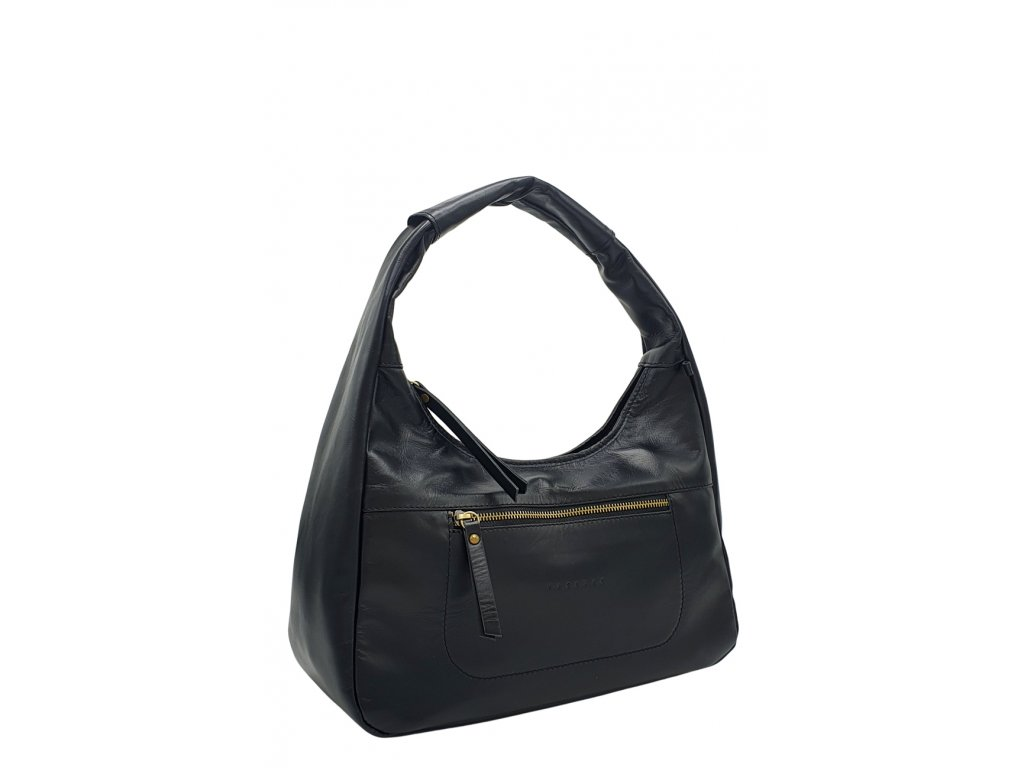 Kožená kabelka přes rameno LYSE černá hladká s mosazným kováním