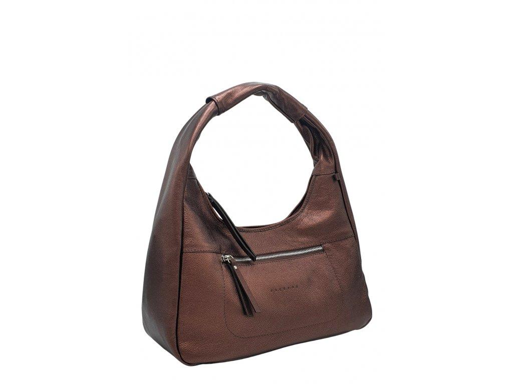Kožená kabelka přes rameno LYSE bronzová