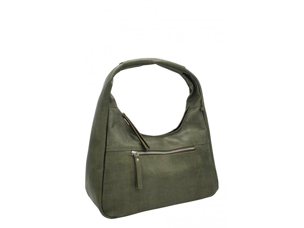 Kožená kabelka přes rameno LYSE zelená vintage