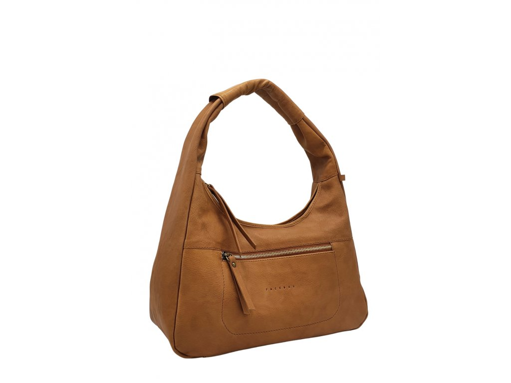 Kožená kabelka přes rameno LYSE cuoio s mosazným kováním