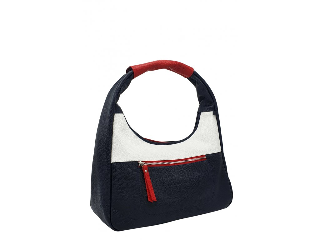 Kožená kabelka přes rameno LYSE modro-červeno-bílá