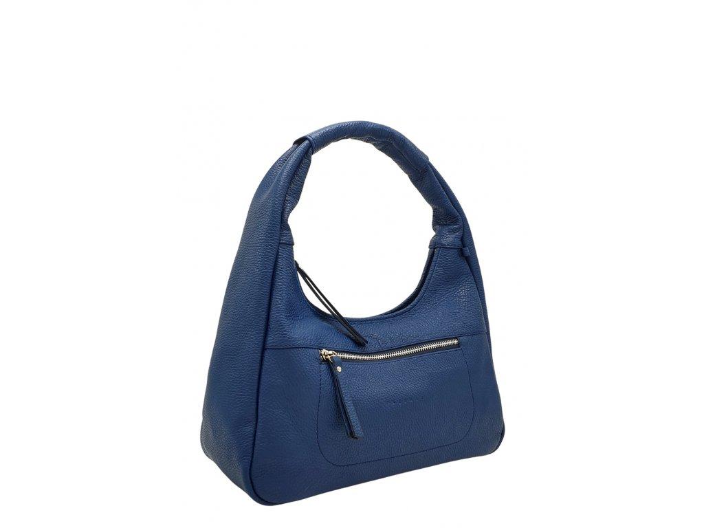 Kožená kabelka přes rameno LYSE modrá