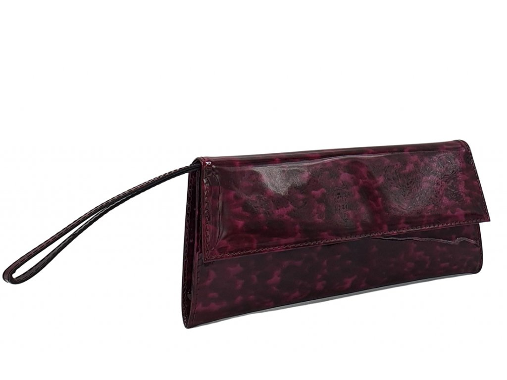 Kožené psaníčko do ruky Dory tmavá fialová lak