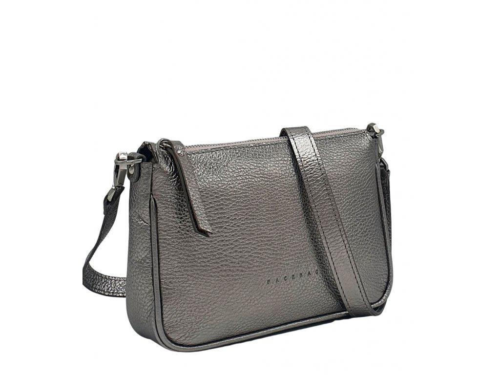 Kožená kabelka GIADA stříbrná