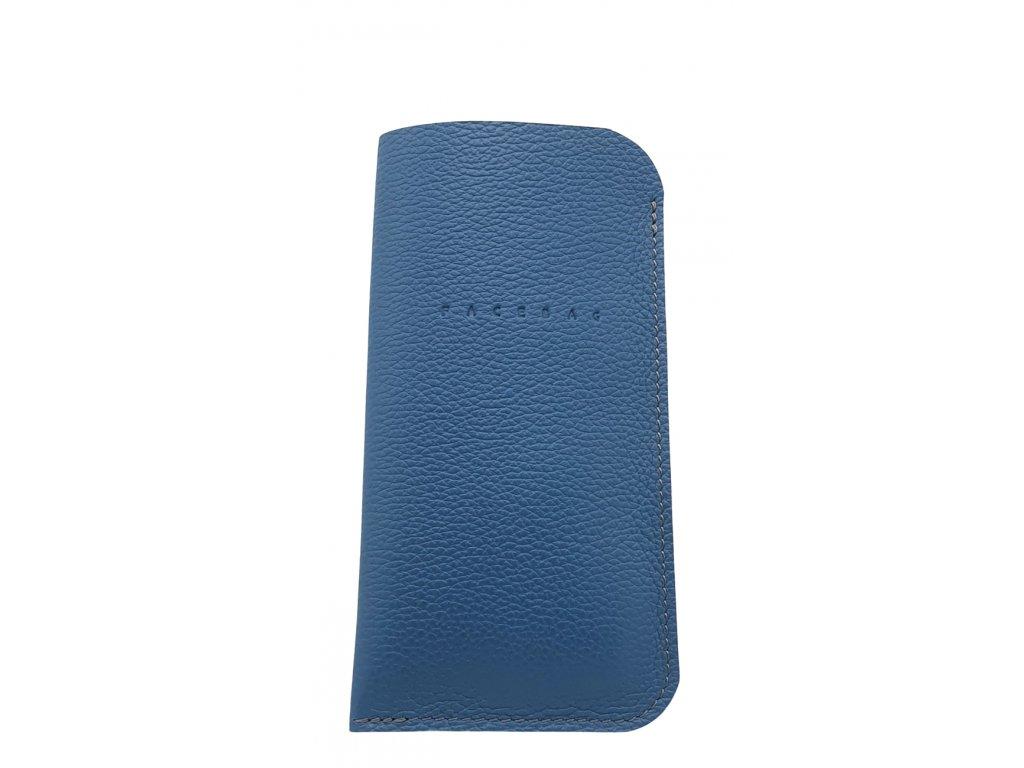 Kožené pouzdro na mobil modré