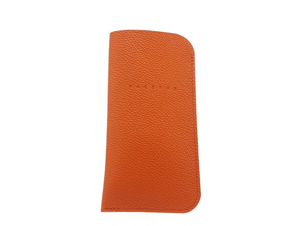 Kožené pouzdro na mobil oranžové