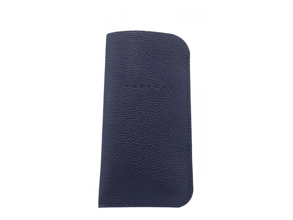 Kožené pouzdro na mobil tmavě modré