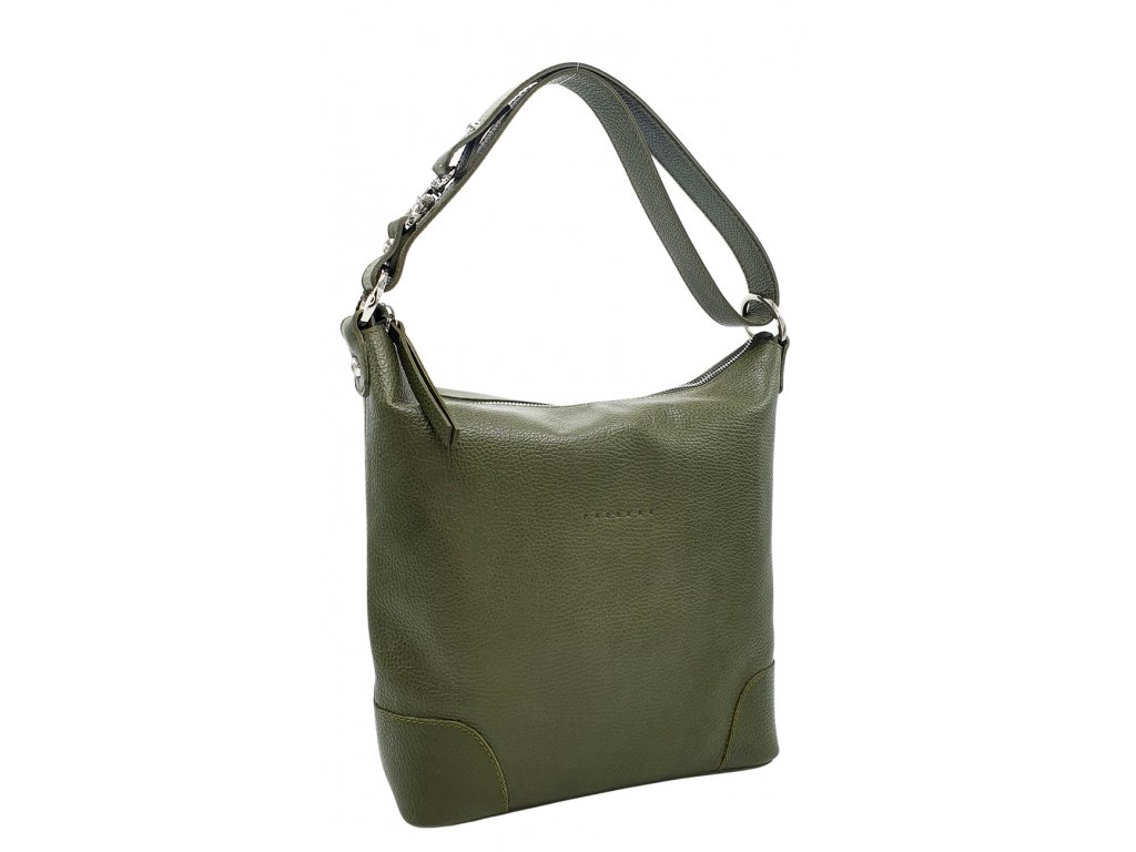Kožená kabelka přes rameno LANNI olivová