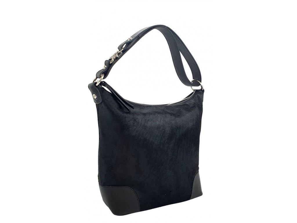 Kožená kabelka přes rameno LANNI černá se srstí