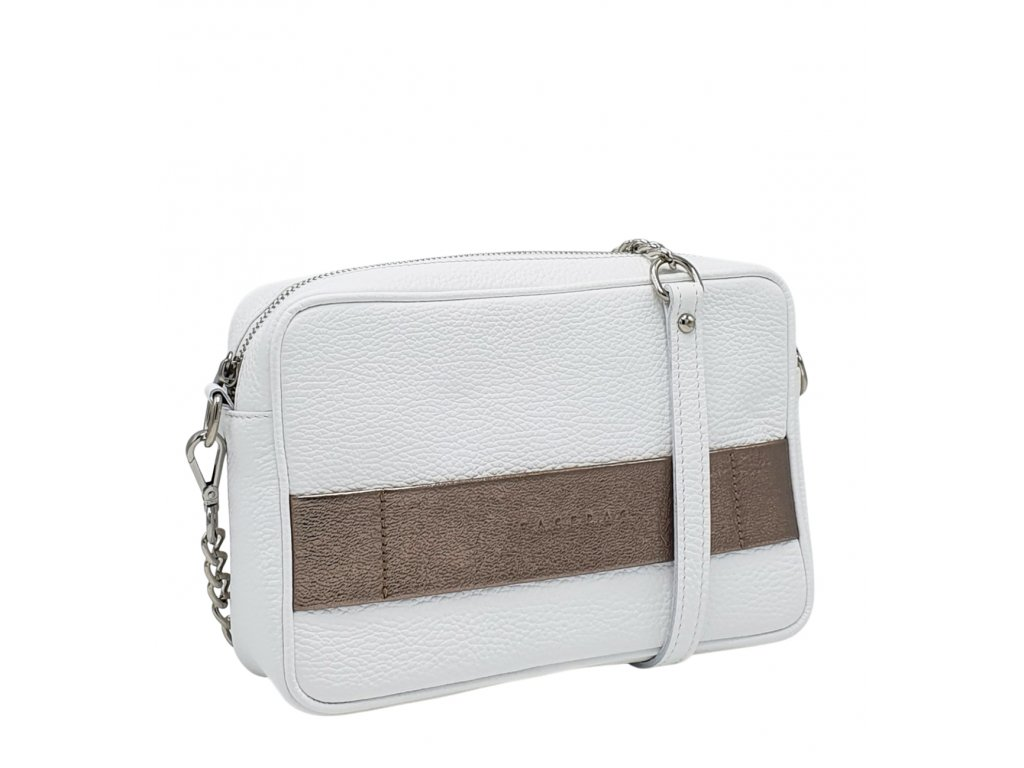 Kožená kabelka Nina bílo-zlatá dolaro