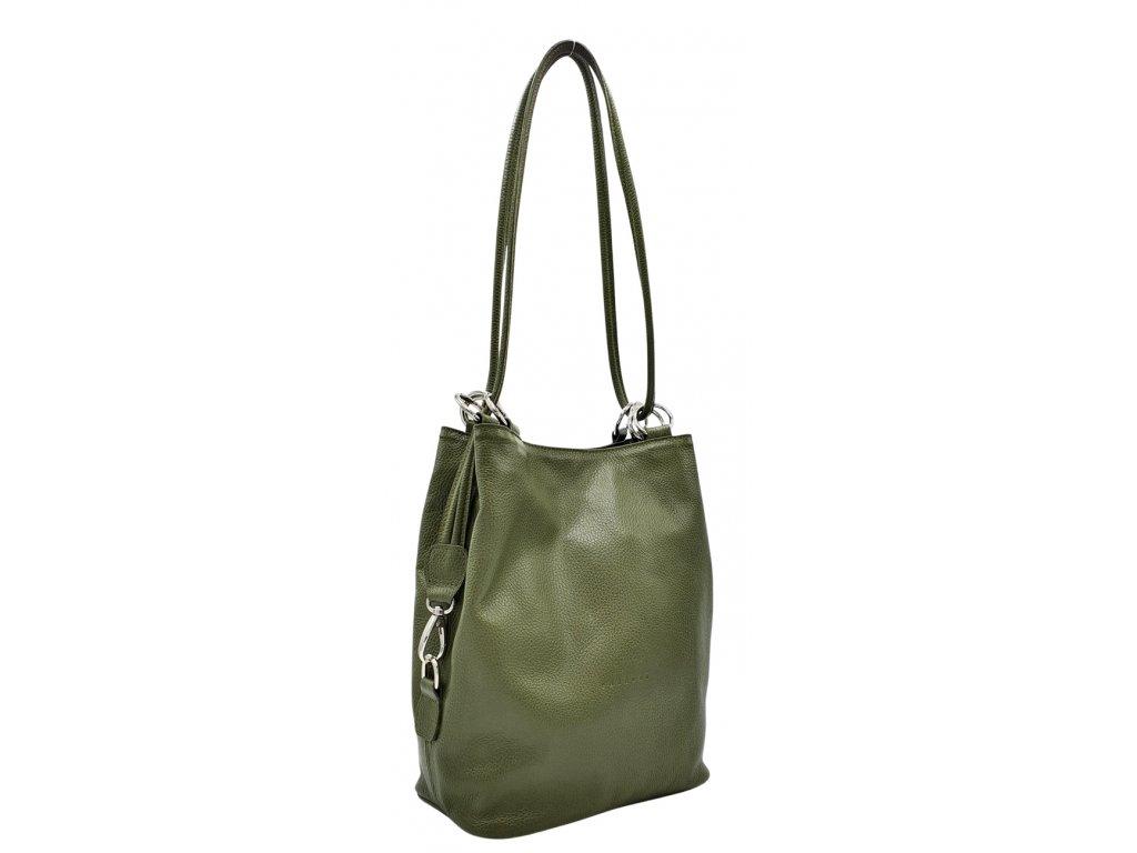 Kožená kabelka přes rameno HERTA olivová