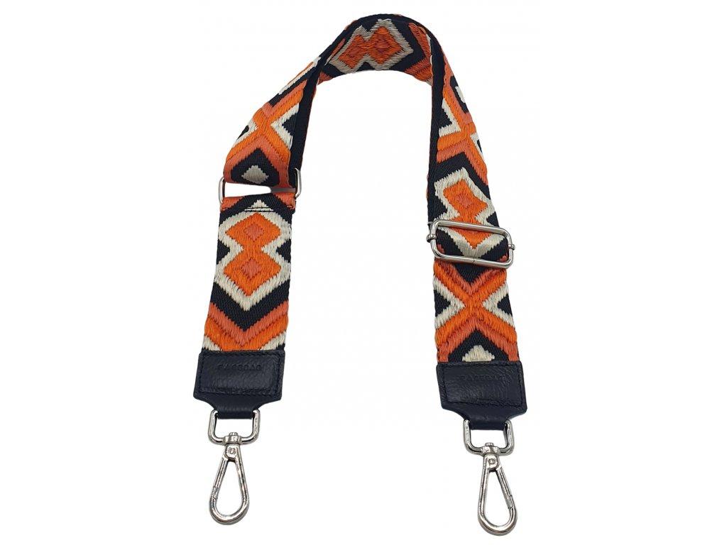 Popruh černý a cikcak oranžový (3)