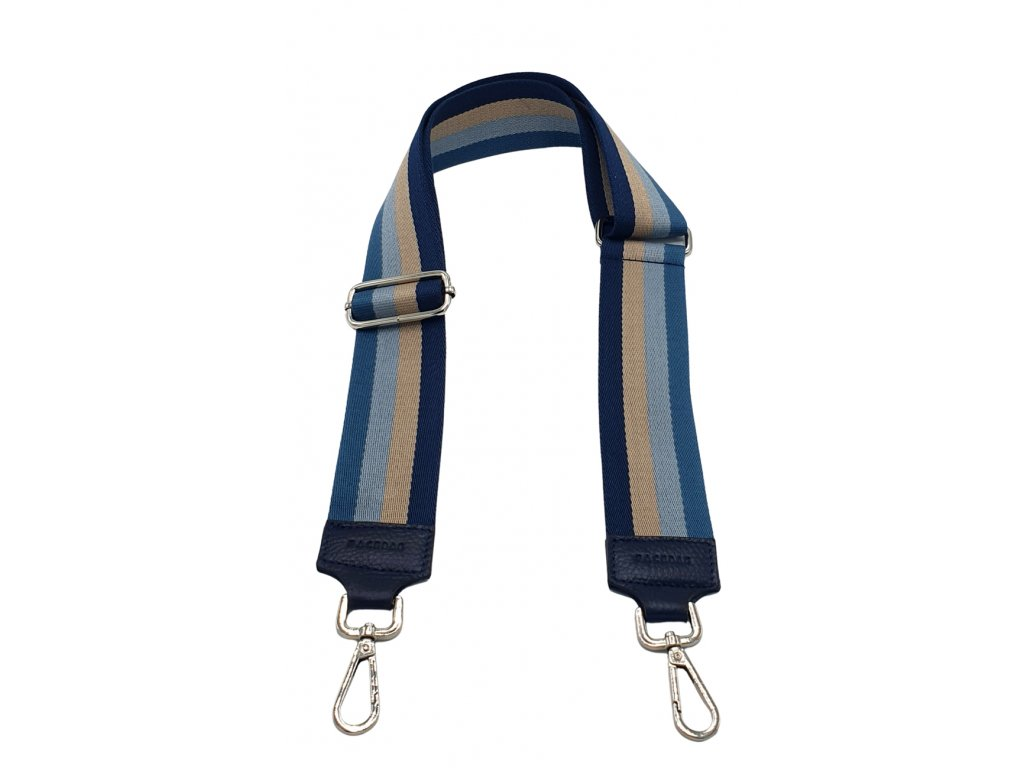 Látkový popruh ke kabelce modrý pruhovaný
