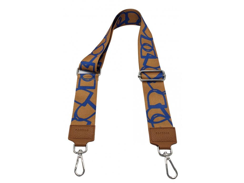 Látkový popruh ke kabelce hnědo-modrý