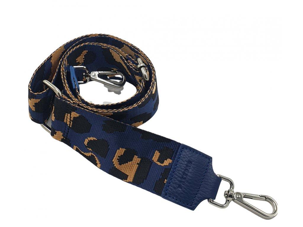 Látkový popruh ke kabelce tmavě modrý leopard