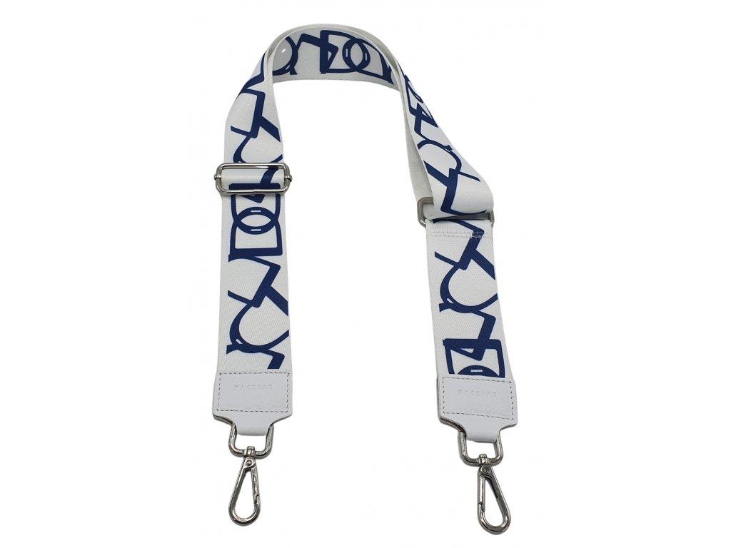 Látkový popruh ke kabelce bílo-modrý