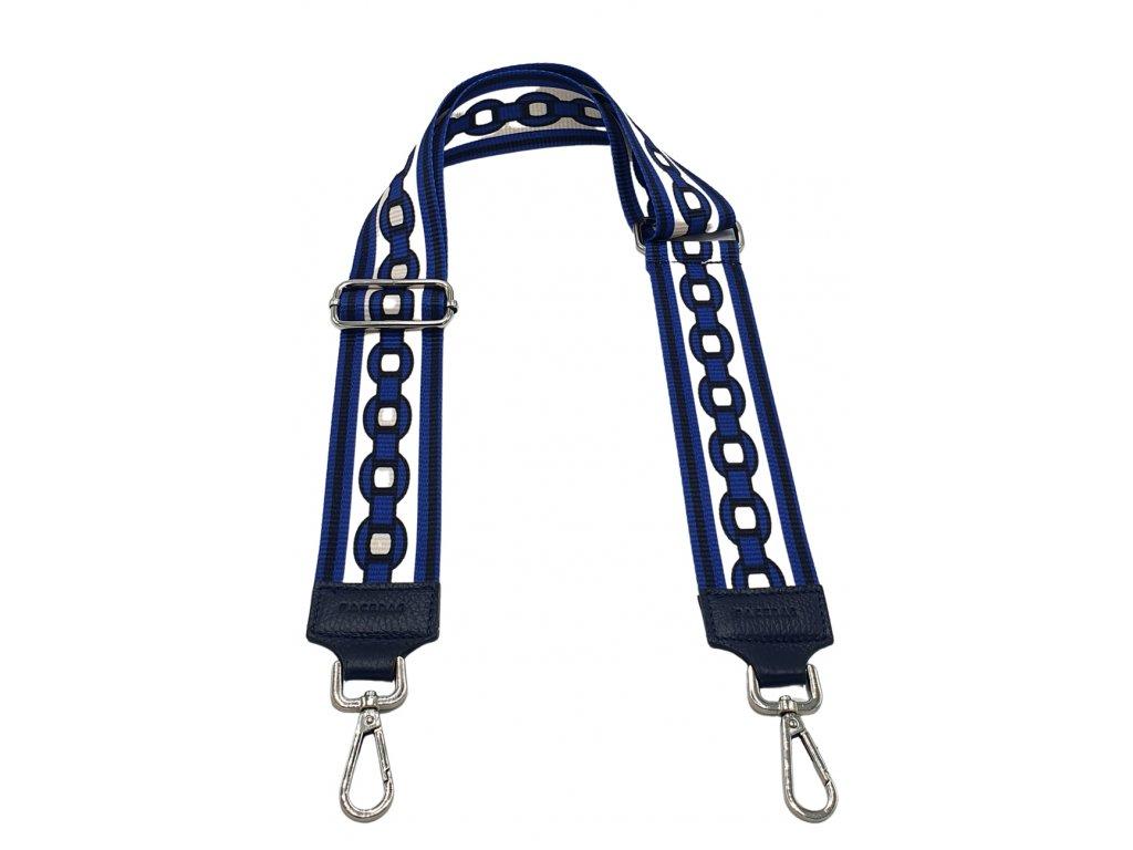 Látkový popruh ke kabelce modro-bílý s ornamenty