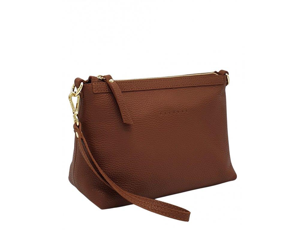 Kožená kabelka hnědá se zlatem (1)