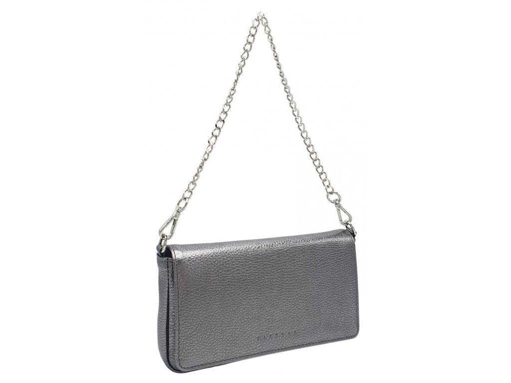 Kožená kabelka BRITA stříbrná