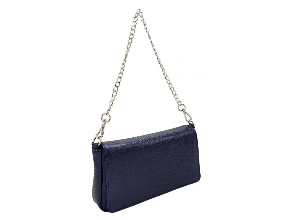 Kožená kabelka BRITA metalická modrá