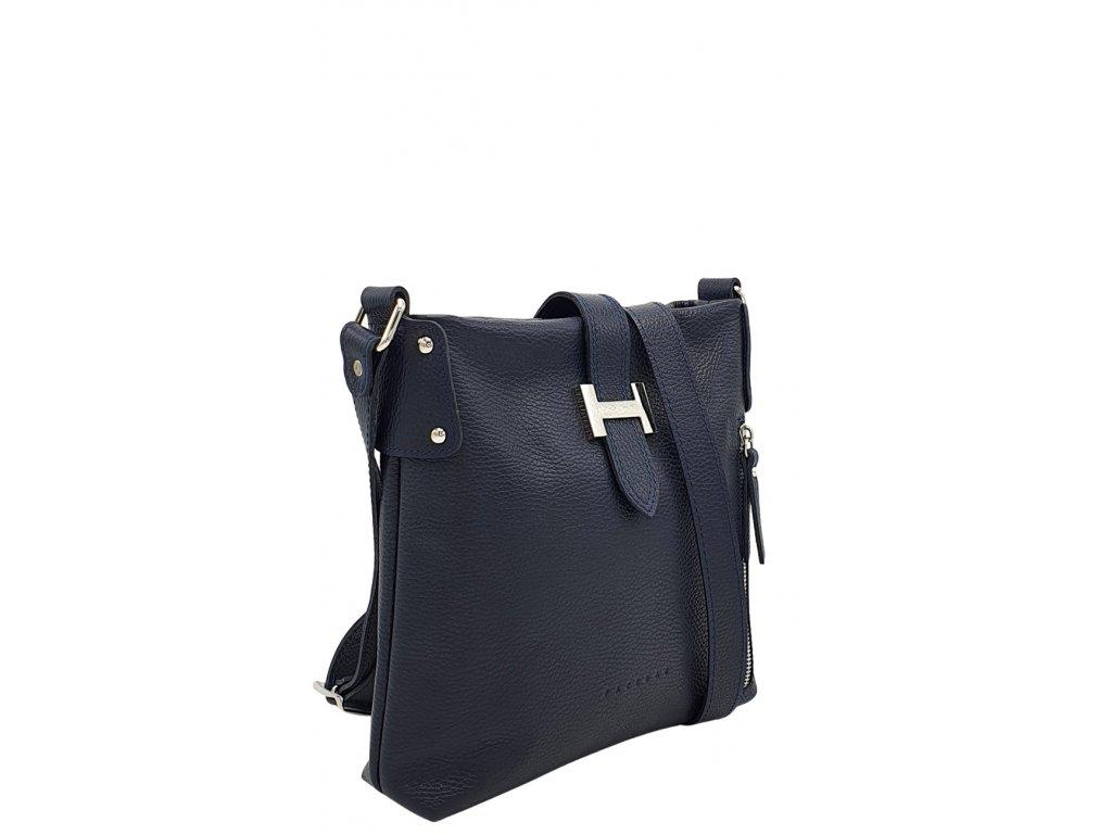 Kožená crossbody kabelka LISA tmavě modrá